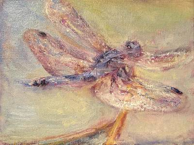 Cadmium Red Painting - Tranquility - Dragonfly by Quin Sweetman