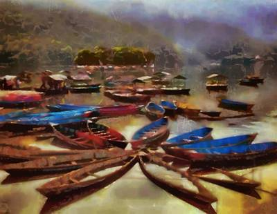 Canoe Digital Art - Tranquility Floats On The Water by Mario Carini