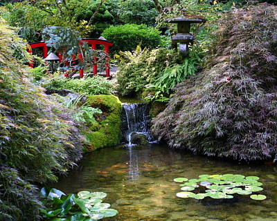 Print featuring the photograph Tranquility In A Japanese Garden by Laurel Talabere