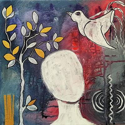Intuitive Mixed Media - Tranquility by Mimulux patricia no No