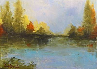 Painting - Tranquility On The Pond by Sandra Reeves