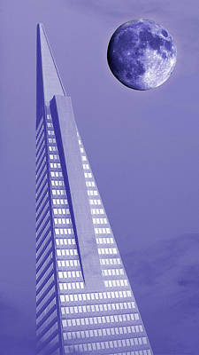 Surrealism Royalty-Free and Rights-Managed Images - Transamerica Pyramid Building Surreal Purple Moonscape San Francisco California 2 by Kathy Anselmo