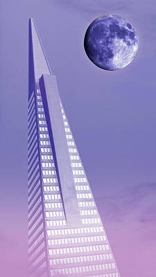 Surrealism Royalty-Free and Rights-Managed Images - Transamerica Pyramid Building Surreal Purple Moonscape San Francisco California 3 by Kathy Anselmo