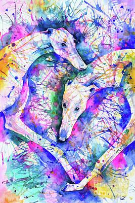 Greyhound Races Painting - Transcendent Greyhounds by Zaira Dzhaubaeva