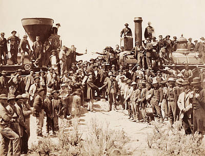 Stanford Wall Art - Photograph - Transcontinental Railroad - Golden Spike Ceremony by War Is Hell Store