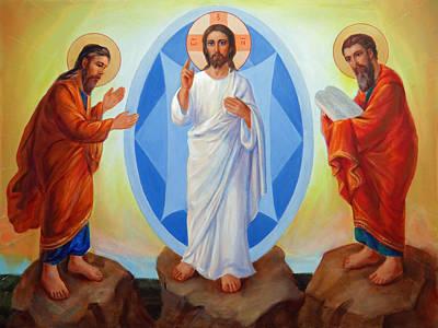 Jesus Christ Icon Painting - Transfiguration Of Jesus by Svitozar Nenyuk