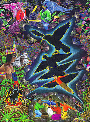 Transformacion Del Chaman En Aguila  Print by Pablo Amaringo