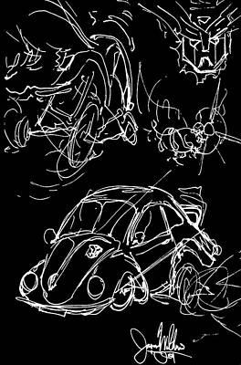 Bumblebee Drawing - Transformers Bumblebee Vw Bug by Jason Williams