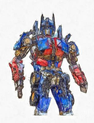 Drawing - Transformers Optimus Prime Or Orion Pax Colored Pencil by Edward Fielding