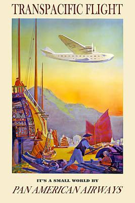 Airways Mixed Media - Transpacific Flight Pan American Airways by David Wagner