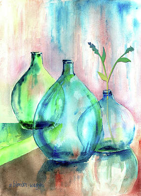Cleared Mixed Media - Transparent Bottles by Arline Wagner