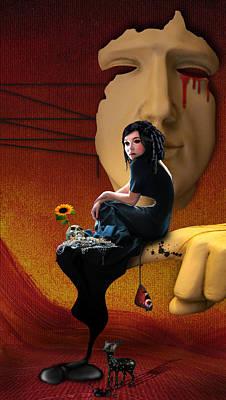 Digital Sunflower Digital Art - Trapped In My Own Fantasy by Ausra Kel