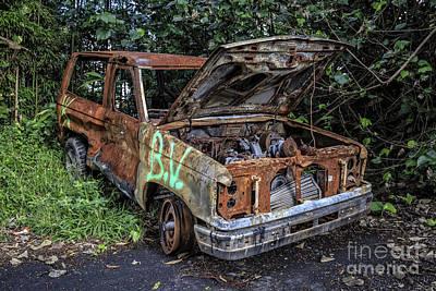 Junk Photograph - Trashed Car Maui Hawaii by Edward Fielding