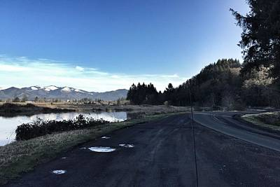 Photograph - Trask River And Distant Snowy Mountains #iphoneography by Chriss Pagani