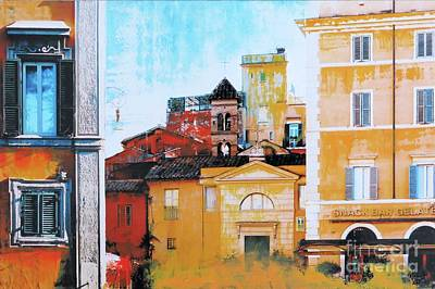 Interior Scene Mixed Media - Trastevere by Nica Art Studio