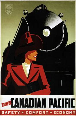 Mixed Media - Travel Canadian Pacific - Steam Engine Train - Retro Travel Poster - Vintage Poster by Studio Grafiikka