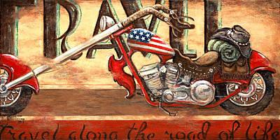 Easy Rider Painting - Travel by Janet  Kruskamp