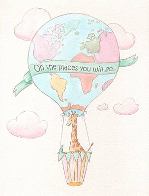 Baby Giraffe Painting - Giraffe - Travel Nursery - Hot Air Balloon by Debbie Cerone