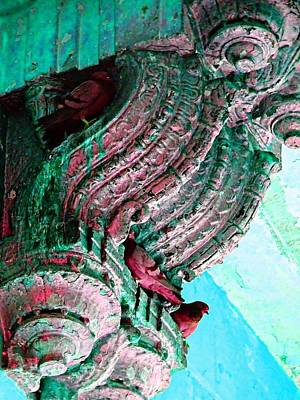 Gate Watercolor Photograph - Travel Pigeons In Exotic Palaces India Rajasthan 3d by Sue Jacobi