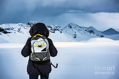 Photograph - Traveler Enjoying Winter Landscape by Anna Om