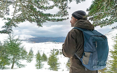 Photograph - Traveler Man In The Snowy Mountains by Anna Om