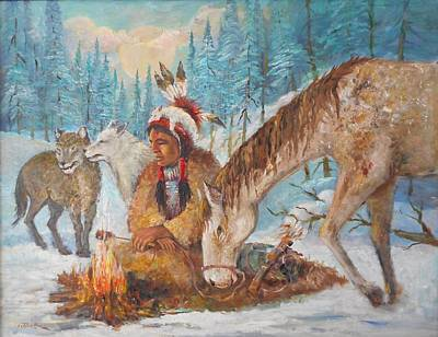 Lynn Burton Wall Art - Painting - Travelers In The Cold by Lynn Burton