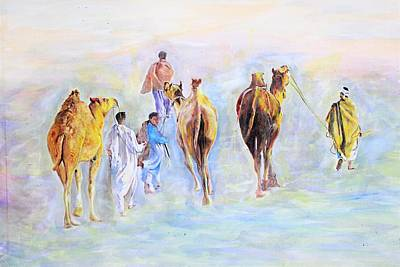 Painting - Travelers. by Khalid Saeed