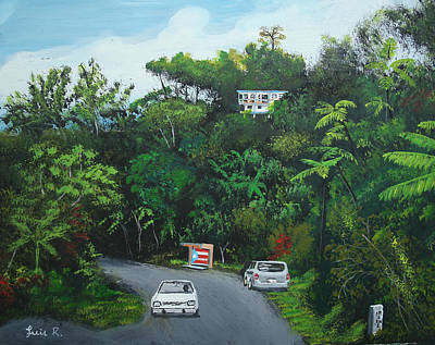 Traveling In Adjuntas Mountains Art Print by Luis F Rodriguez