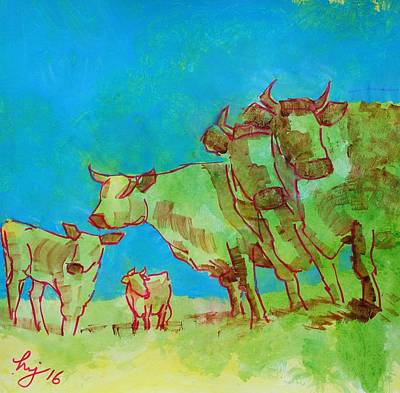 Painting - Traveling Incognito - Herd Of Cows by Mike Jory