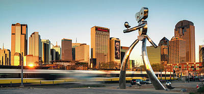 Photograph - Traveling Man - Dallas Skyline Panorama  by Gregory Ballos