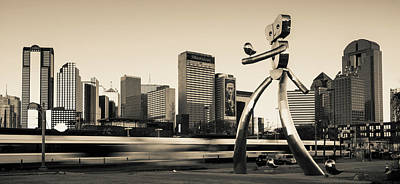 Photograph - Traveling Man - Dallas Skyline Panorama - Sepia by Gregory Ballos