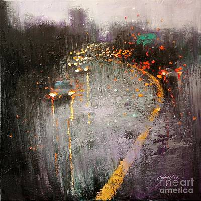 Painting - Traveling On Rainy Day by Chin H Shin