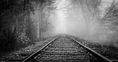 Traveling On The Tracks Black And White Art Print by Debra and Dave Vanderlaan