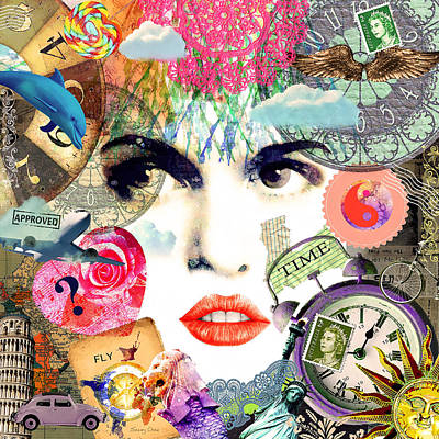Clock Face Mixed Media - Traveling Through Time by Stacey Chiew