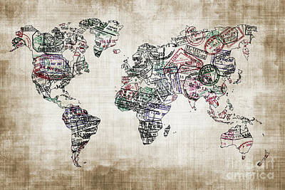 Immigration Photograph - Traveler World Map Sepia Color by Delphimages Photo Creations