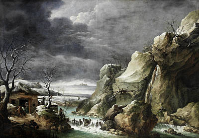 Painting - Travellers Approaching A Barn In A Winter Landscape Under A Stormy Sky by Francesco Foschi