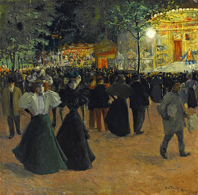 Painting - Travelling Funfair.place Pigalle by Louis Abel-Truchet