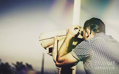 Binoculars Photograph - Travelling Man Looking Through Binoculars by Jorgo Photography - Wall Art Gallery