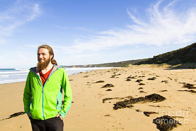 Human Landscape Photograph - Travelling Man On A Beach In Victoria by Jorgo Photography - Wall Art Gallery