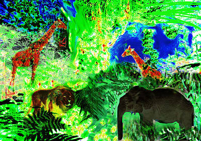Elephant Painting - Travelling Through Jungle Lands  by Paul Sutcliffe