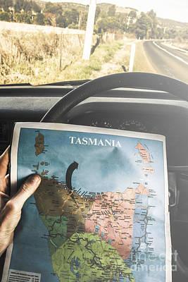 Travelling Tourist With Map Of Tasmania Art Print
