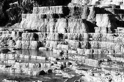 Photograph - Travertine Hot Spring Terraces Mammoth Hot Springs Yellowstone Np Wyoming Black And White  by Shawn O'Brien