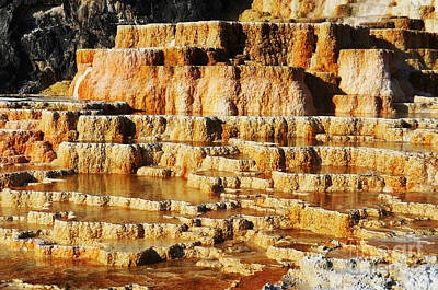 Outdoors Photograph - Travertine Hot Spring Terraces Orange Red Mammoth Hot Springs Yellowstone Np Wy by Shawn O'Brien