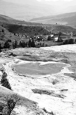 Photograph - Travertine Terrace View Of Mammoth Hot Springs Village In Yellowstone National Park Black And White by Shawn O'Brien