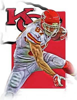 Football Mixed Media - Travis Kelce Kansas City Chiefs Oil Art by Joe Hamilton