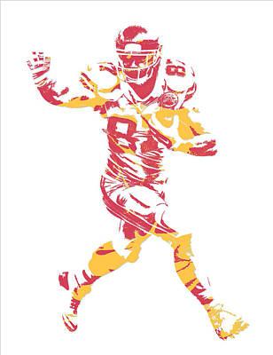 Kansas Mixed Media - Travis Kelce Kansas City Chiefs Pixel Art 6 by Joe Hamilton