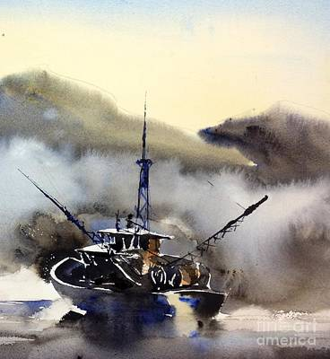 Painting - Trawler In The Mist by John Byram