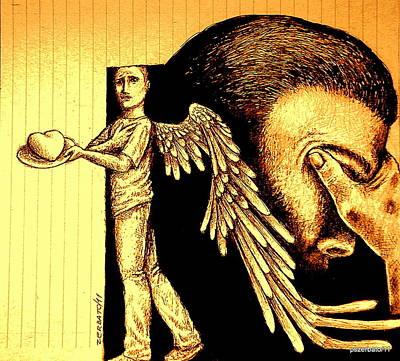 Emotionism Digital Art - Tray  I Give You My Heart by Paulo Zerbato