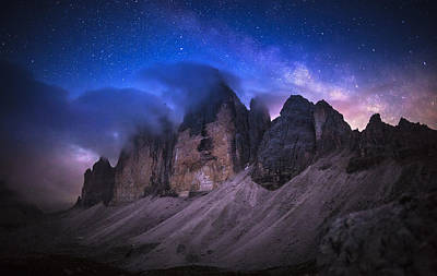 Cloudscape Photograph - Tre Cime De Lavaredo At Night by Dr. Nicholas Roemmelt
