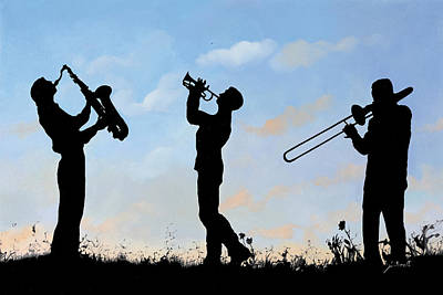 Jazz Painting Royalty Free Images - Tre Royalty-Free Image by Guido Borelli